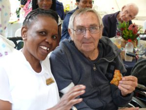 Martha Mabuyela and resident Gerrie Snyman enjoy the festivities