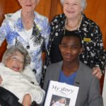 Back: Author Jean Johnson; and Ron Smith Care Centre liaison officer Phyllis Phillips, who drove the 'My Story' initiative. Front: Lynn Kingston and Lucky Dinake.
